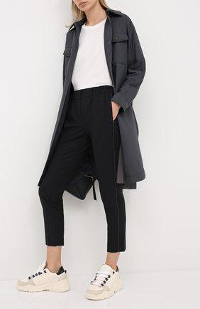 Женские шерстяные брюки BRUNELLO CUCINELLI черного цвета, арт. MPW07P6818 | Фото 2