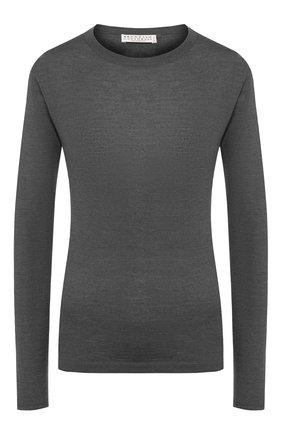 Женский пуловер из смеси кашемира и шелка BRUNELLO CUCINELLI темно-серого цвета, арт. M13800000P | Фото 1