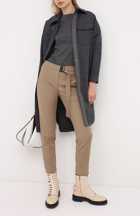 Женский пуловер из смеси кашемира и шелка BRUNELLO CUCINELLI темно-серого цвета, арт. M13800000P | Фото 2