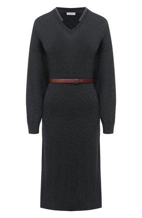 Женское шерстяное платье BRUNELLO CUCINELLI темно-серого цвета, арт. M14817A92P | Фото 1