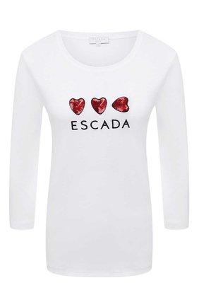 Женская хлопковый лонгслив ESCADA SPORT белого цвета, арт. 5033691 | Фото 1