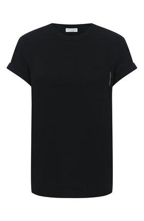 Женская хлопковая футболка BRUNELLO CUCINELLI черного цвета, арт. M0T18BB300 | Фото 1