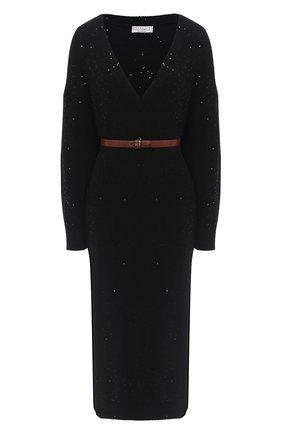 Женское платье из кашемира и шелка BRUNELLO CUCINELLI черного цвета, арт. M73549A92 | Фото 1
