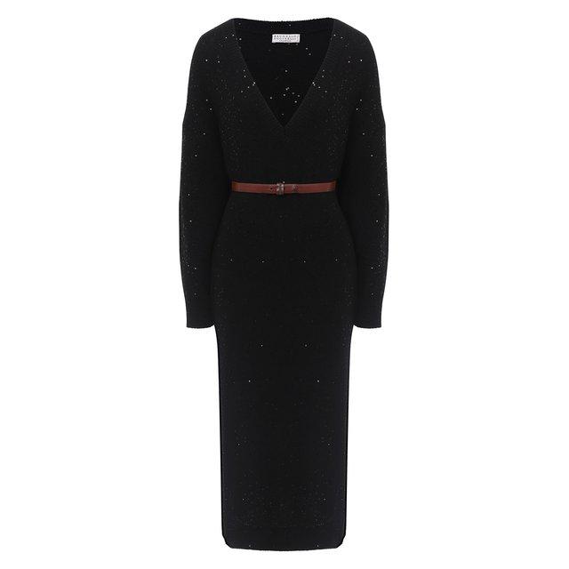 Платье из кашемира и шелка Brunello Cucinelli