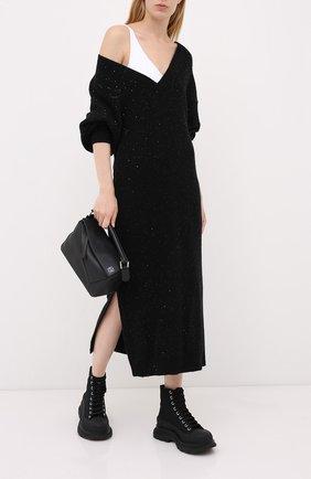 Женское платье из кашемира и шелка BRUNELLO CUCINELLI черного цвета, арт. M73549A92 | Фото 2
