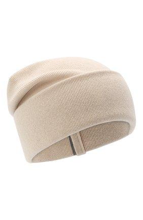 Женская кашемировая шапка BRUNELLO CUCINELLI светло-бежевого цвета, арт. M12163199 | Фото 1