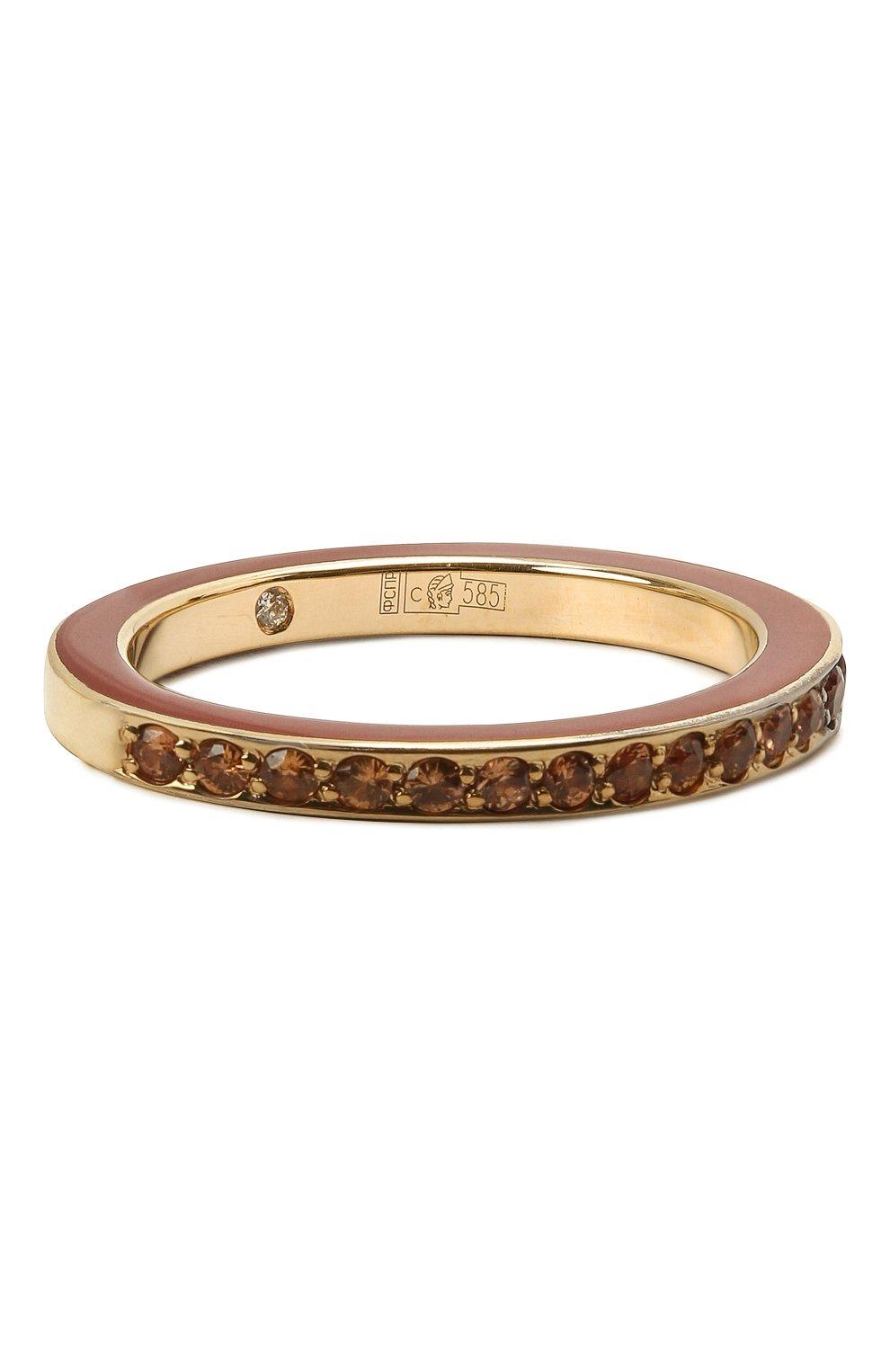 Женское кольцо JEWLIA коричневого цвета, арт. 0102.JR-55с | Фото 1 (Материал: Золото)