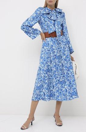 Женское шелковое платье VALENTINO голубого цвета, арт. UB3VAT555L7 | Фото 2