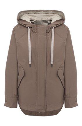 Женская куртка BRUNELLO CUCINELLI бежевого цвета, арт. MB5748817P | Фото 1 (Материал подклада: Синтетический материал; Материал внешний: Хлопок, Синтетический материал; Рукава: Длинные; Длина (верхняя одежда): Короткие; Кросс-КТ: Ветровка, Куртка; Стили: Кэжуэл)
