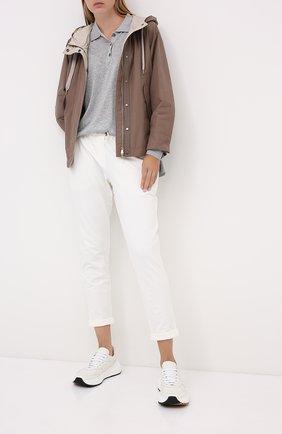 Женская куртка BRUNELLO CUCINELLI бежевого цвета, арт. MB5748817P | Фото 2 (Материал подклада: Синтетический материал; Материал внешний: Хлопок, Синтетический материал; Рукава: Длинные; Длина (верхняя одежда): Короткие; Кросс-КТ: Ветровка, Куртка; Стили: Кэжуэл)