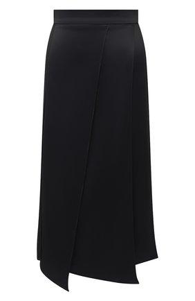 Женская шелковая юбка BRUNELLO CUCINELLI черного цвета, арт. MP142G2957 | Фото 1 (Материал внешний: Шелк; Женское Кросс-КТ: Юбка-одежда; Длина Ж (юбки, платья, шорты): Миди)