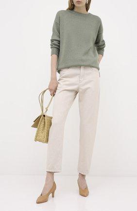 Женские джинсы BRUNELLO CUCINELLI бежевого цвета, арт. MP93PP5534 | Фото 2 (Материал внешний: Хлопок; Длина (брюки, джинсы): Стандартные; Стили: Кэжуэл; Кросс-КТ: Деним)