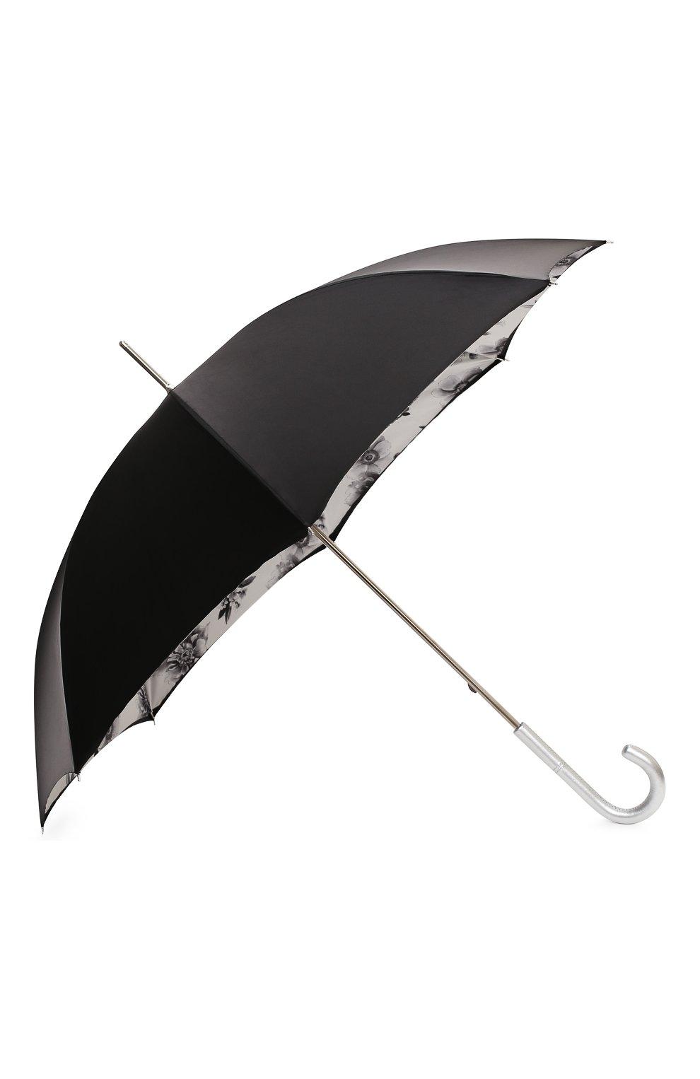 Женский зонт-трость PASOTTI OMBRELLI черного цвета, арт. 189N/RAS0 9B460/13/I35   Фото 2 (Материал: Текстиль, Металл)