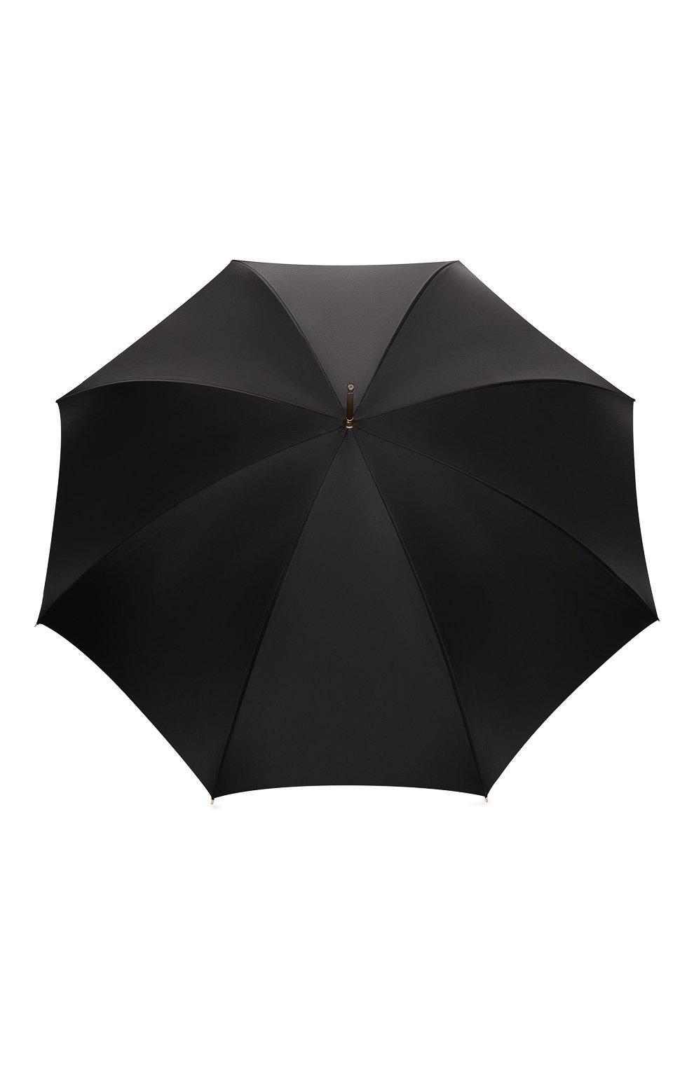 Женский зонт-трость PASOTTI OMBRELLI черного цвета, арт. 189/RAS0 5A488/92/PELLE | Фото 1 (Материал: Текстиль, Металл)