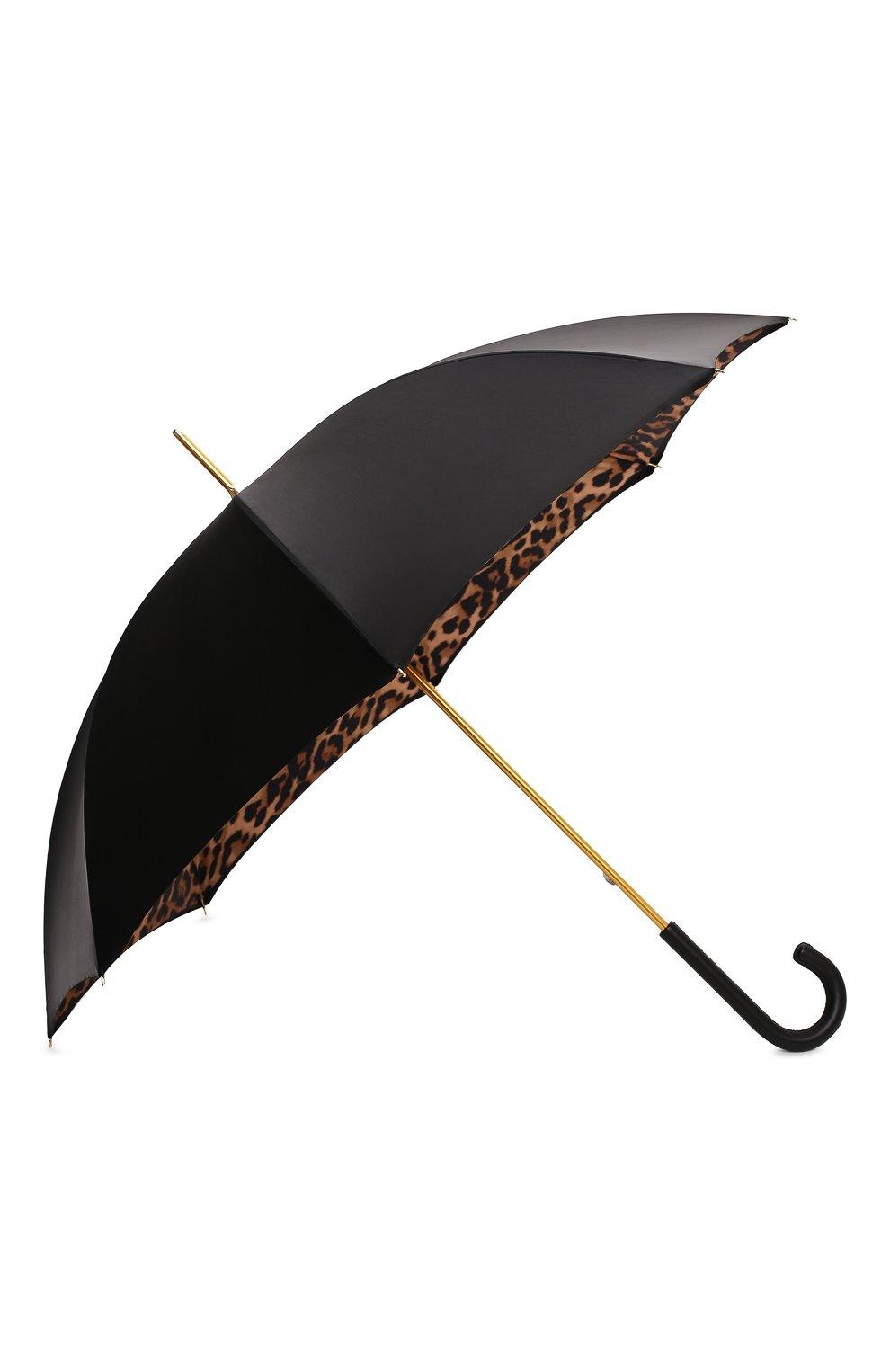 Женский зонт-трость PASOTTI OMBRELLI черного цвета, арт. 189/RAS0 5A488/92/PELLE | Фото 2 (Материал: Текстиль, Металл)