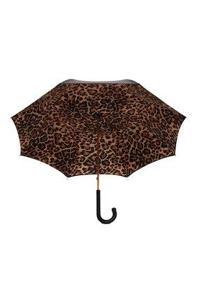 Женский зонт-трость PASOTTI OMBRELLI черного цвета, арт. 189/RAS0 5A488/92/PELLE | Фото 3 (Материал: Текстиль, Металл)