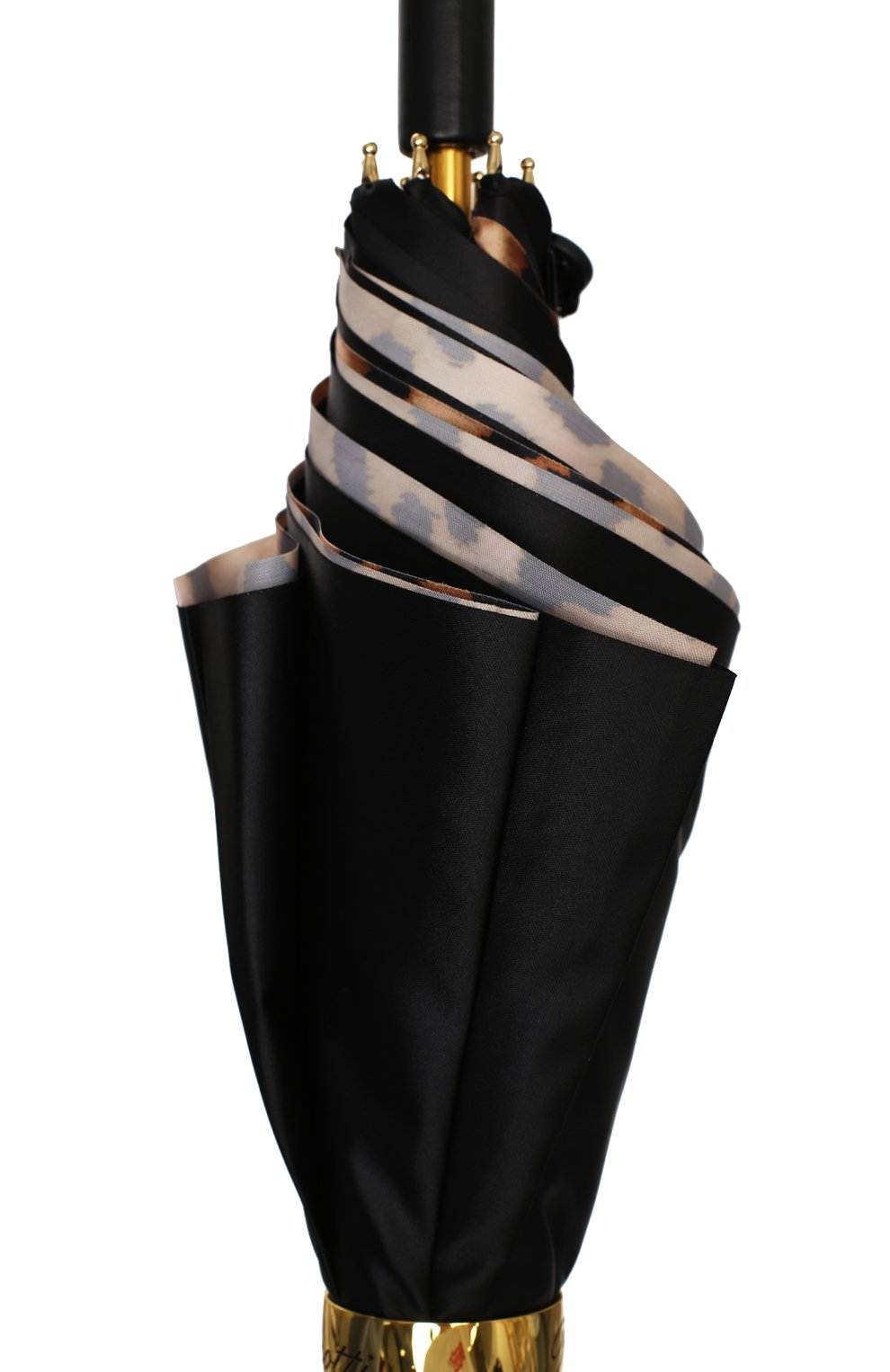 Женский зонт-трость PASOTTI OMBRELLI черного цвета, арт. 189/RAS0 5A488/92/PELLE | Фото 5 (Материал: Текстиль, Металл)