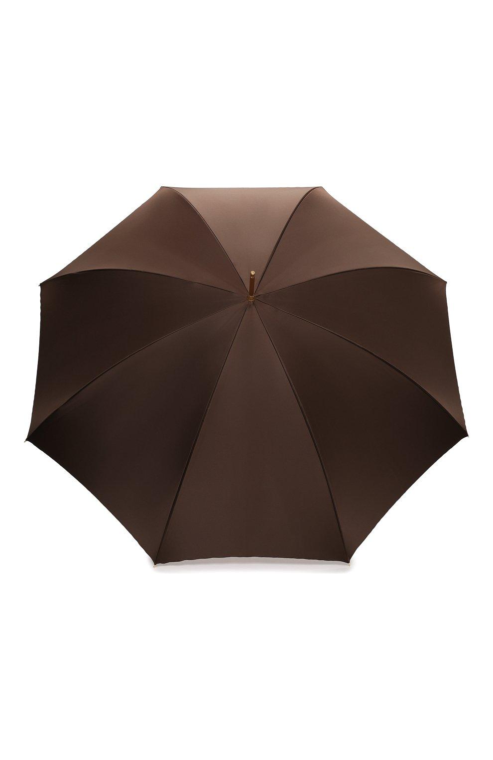Женский зонт-трость PASOTTI OMBRELLI коричневого цвета, арт. 189/RAS0 5A361/4/PELLE   Фото 1 (Материал: Текстиль, Металл)