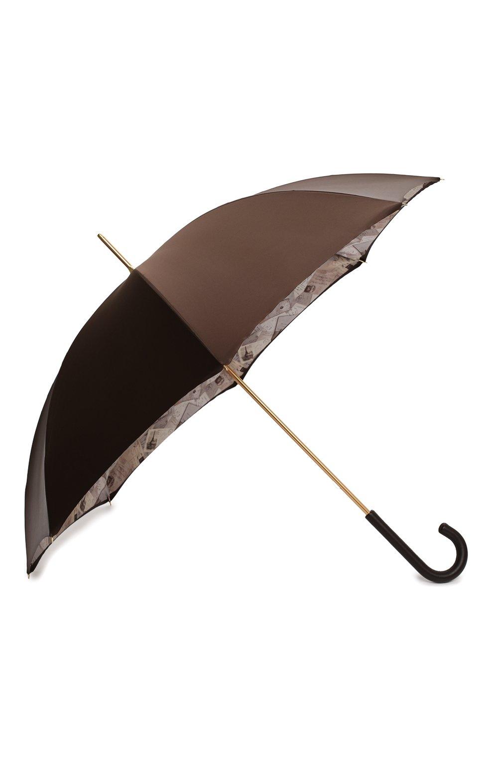 Женский зонт-трость PASOTTI OMBRELLI коричневого цвета, арт. 189/RAS0 5A361/4/PELLE   Фото 2 (Материал: Текстиль, Металл)