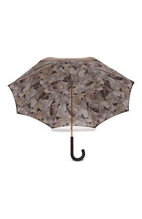 Женский зонт-трость PASOTTI OMBRELLI коричневого цвета, арт. 189/RAS0 5A361/4/PELLE   Фото 3 (Материал: Текстиль, Металл)