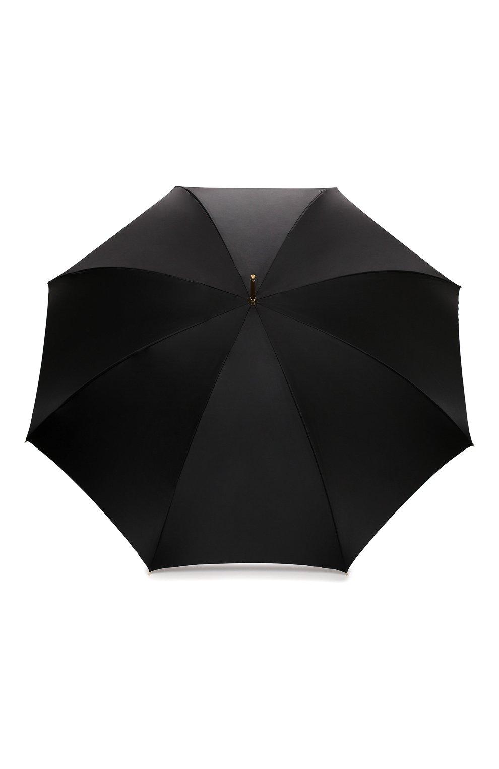 Женский зонт-трость PASOTTI OMBRELLI черного цвета, арт. 189/RAS0 58112/166/A35 | Фото 1 (Материал: Текстиль, Синтетический материал, Металл)