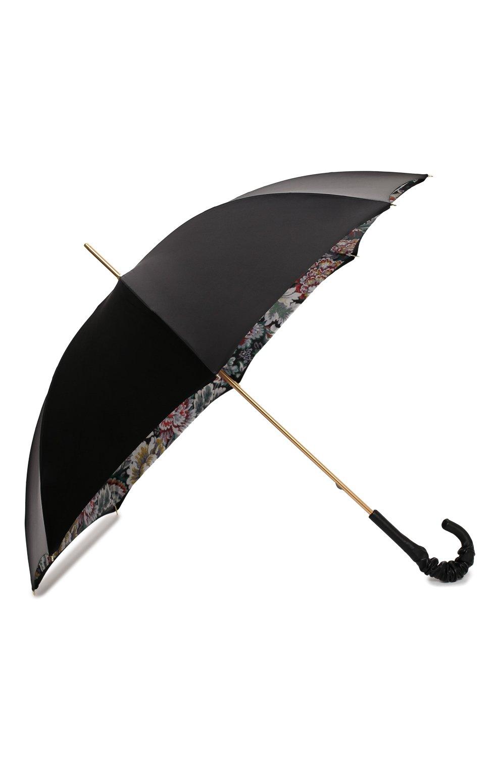 Женский зонт-трость PASOTTI OMBRELLI черного цвета, арт. 189/RAS0 58112/166/A35 | Фото 2 (Материал: Текстиль, Синтетический материал, Металл)