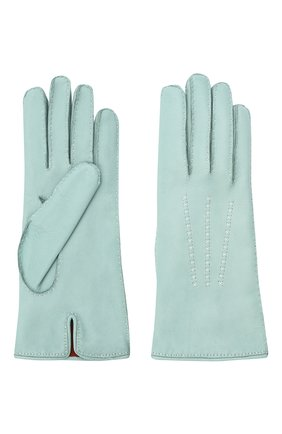 Женские кожаные перчатки LORO PIANA голубого цвета, арт. FAL2793 | Фото 2