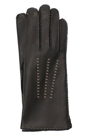 Женские кожаные перчатки LORO PIANA черного цвета, арт. FAL2793 | Фото 1