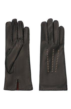 Женские кожаные перчатки LORO PIANA черного цвета, арт. FAL2793 | Фото 2