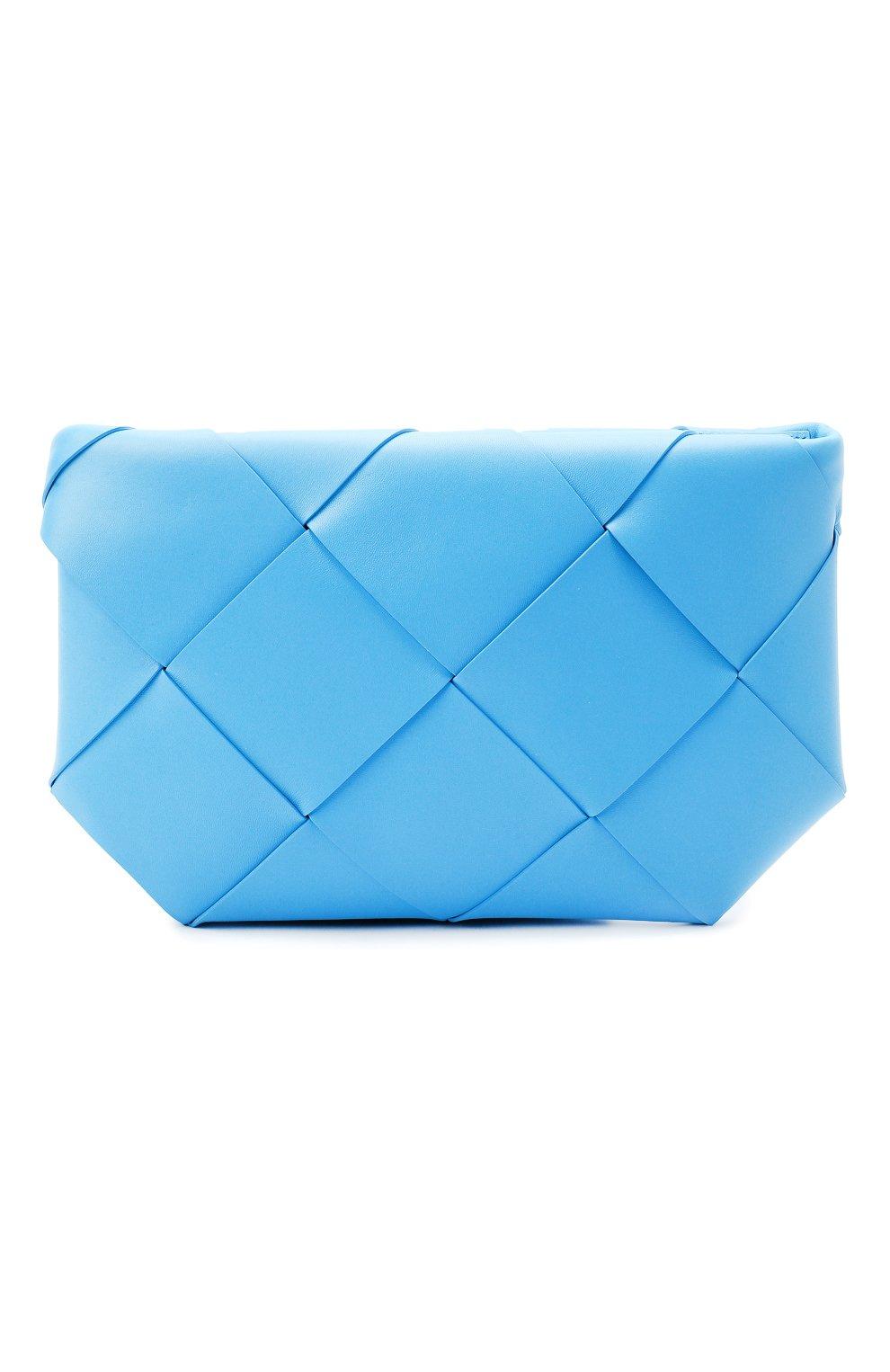 Женская кожаная косметичка BOTTEGA VENETA синего цвета, арт. 577771/VMAY4 | Фото 1 (Материал: Кожа)