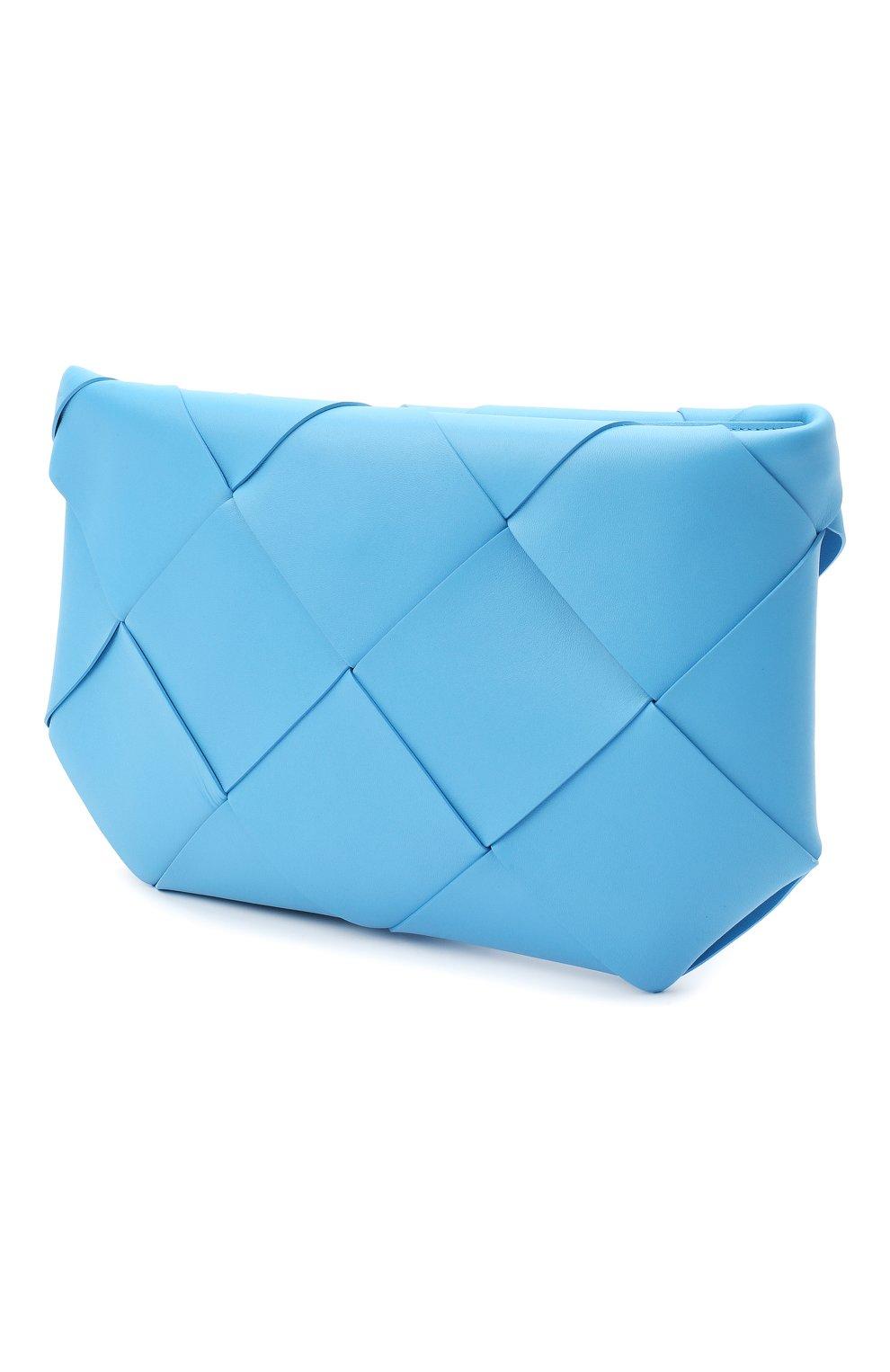 Женская кожаная косметичка BOTTEGA VENETA синего цвета, арт. 577771/VMAY4 | Фото 2 (Материал: Кожа)
