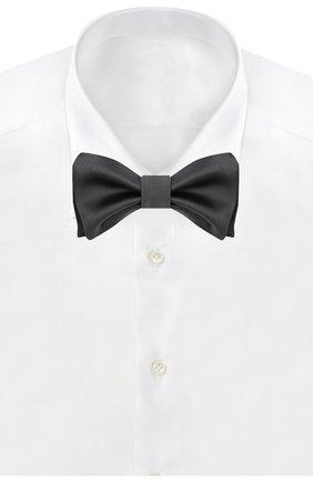 Мужской галстук-бабочка из хлопка и шелка BRUNELLO CUCINELLI серого цвета, арт. MR8130003 | Фото 2