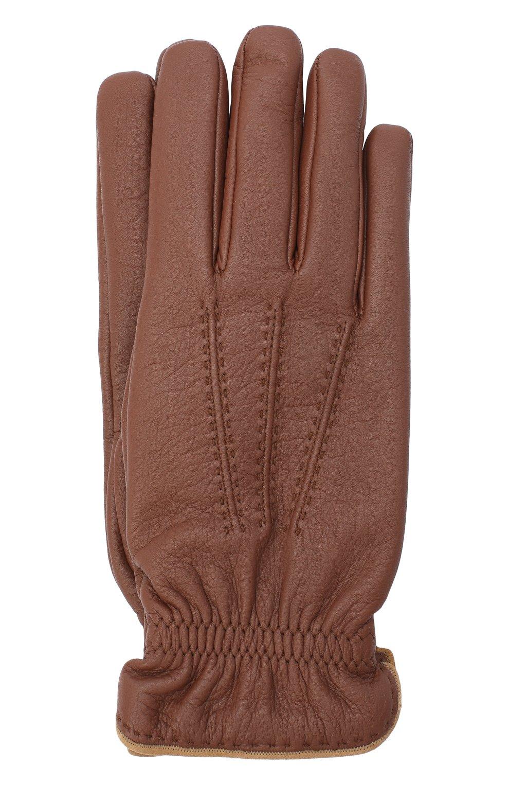 Мужские кожаные перчатки BRUNELLO CUCINELLI коричневого цвета, арт. MPSC93528 | Фото 1