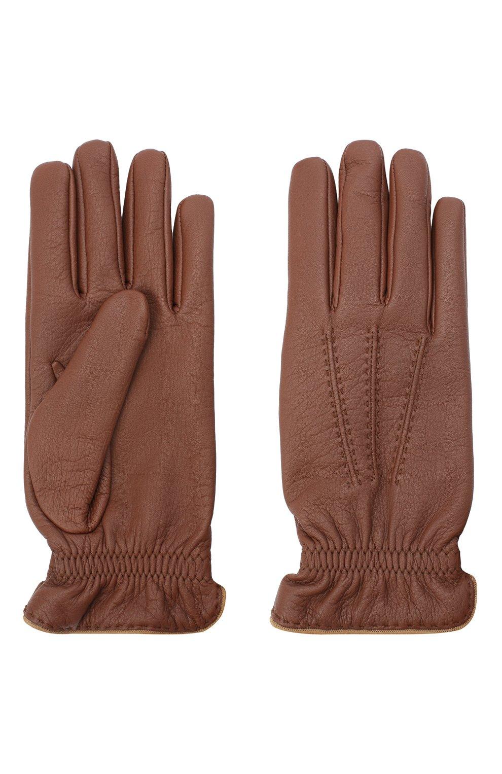 Мужские кожаные перчатки BRUNELLO CUCINELLI коричневого цвета, арт. MPSC93528 | Фото 2