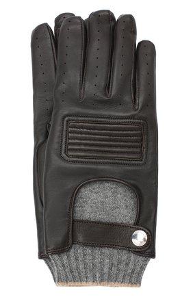Мужские кожаные перчатки BRUNELLO CUCINELLI темно-коричневого цвета, арт. MPCN93808 | Фото 1