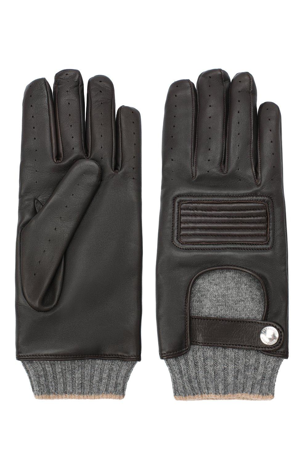Мужские кожаные перчатки BRUNELLO CUCINELLI темно-коричневого цвета, арт. MPCN93808 | Фото 2