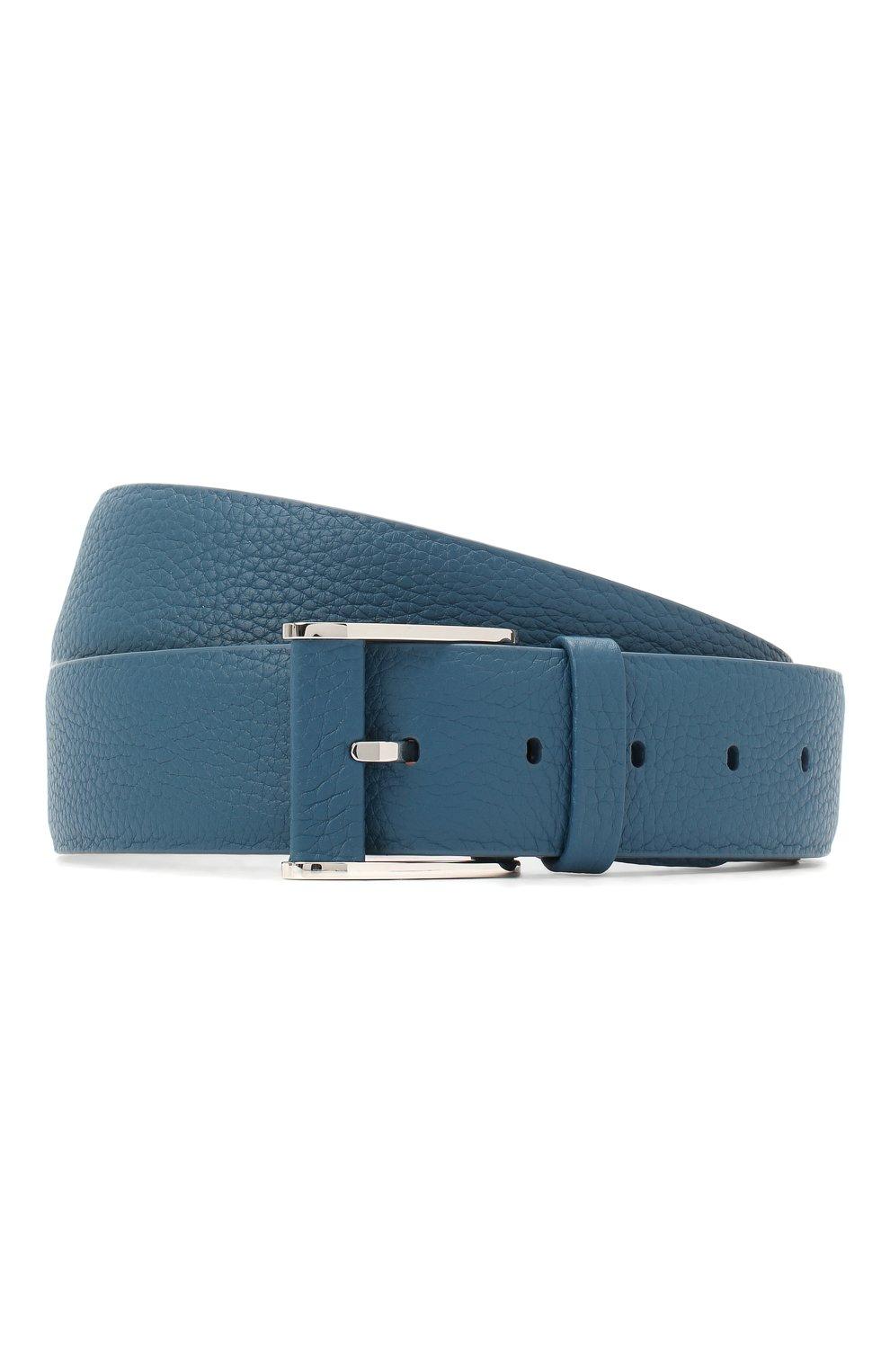 Мужской кожаный ремень ZILLI голубого цвета, арт. MJL-CLAQE-01805/0236 | Фото 1