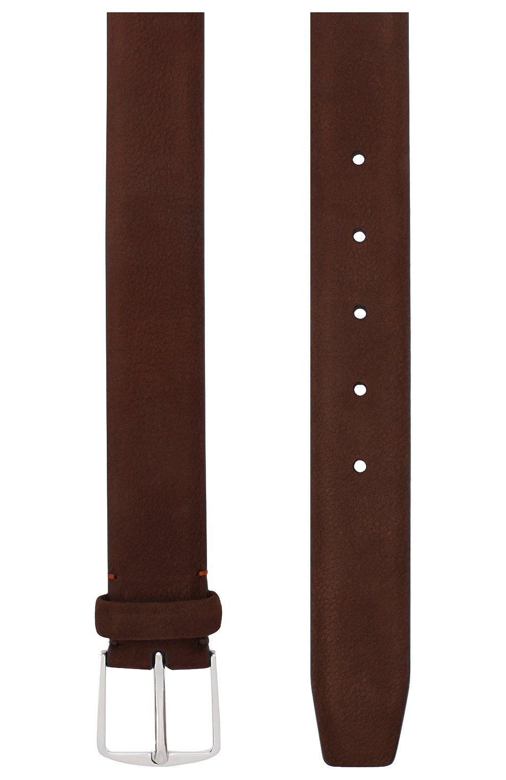 Мужской замшевый ремень LORO PIANA темно-коричневого цвета, арт. FAL2922 | Фото 2