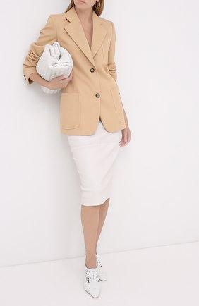Женская кожаные туфли GIORGIO ARMANI белого цвета, арт. X1C198/XM378 | Фото 2