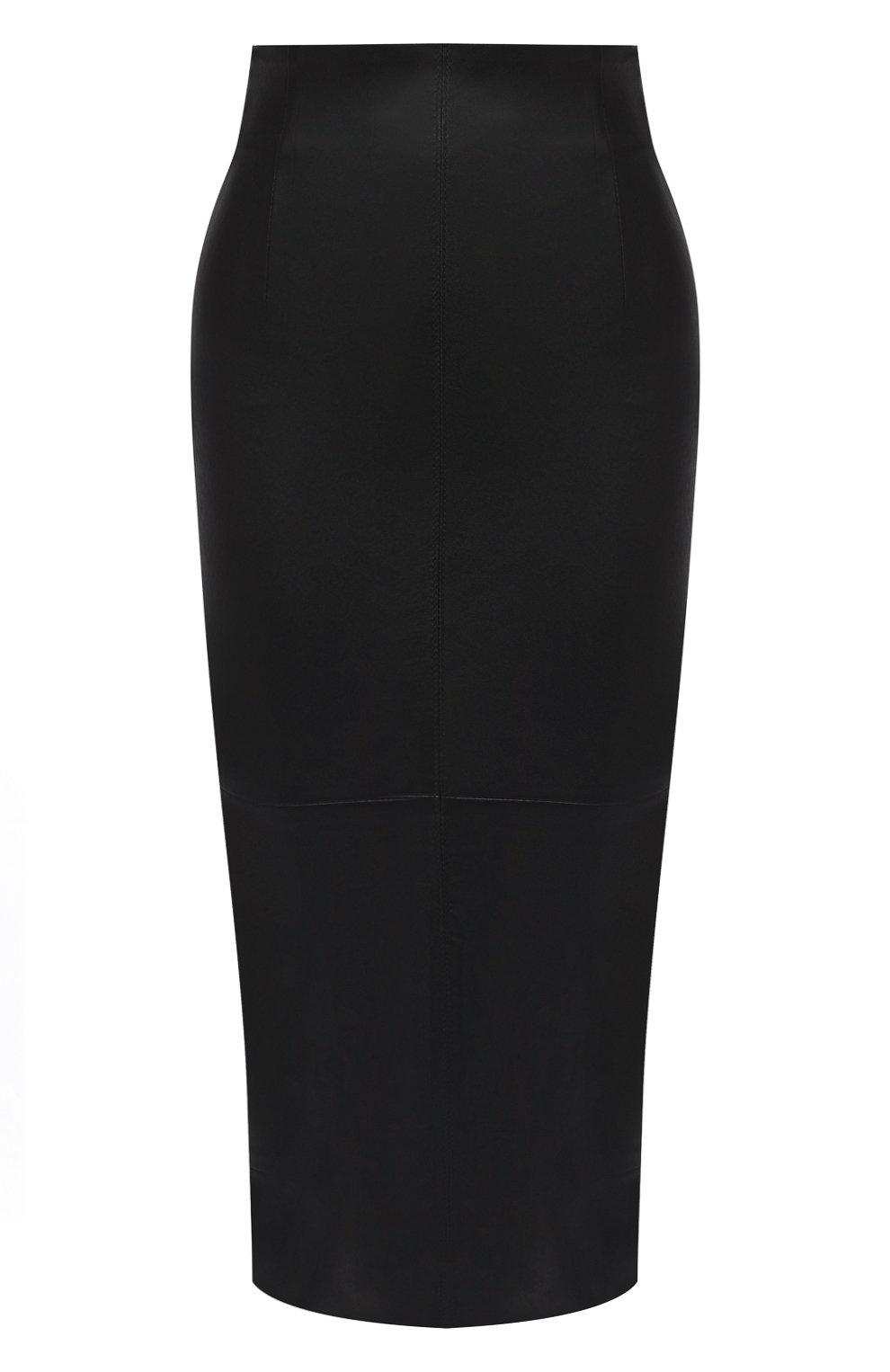 Женская кожаная юбка BRUNELLO CUCINELLI черного цвета, арт. MPV32G2968   Фото 1