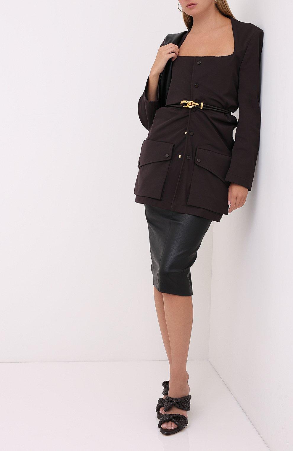 Женская кожаная юбка BRUNELLO CUCINELLI черного цвета, арт. MPV32G2968   Фото 2