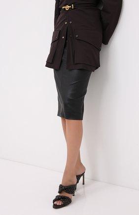 Женская кожаная юбка BRUNELLO CUCINELLI черного цвета, арт. MPV32G2968   Фото 3