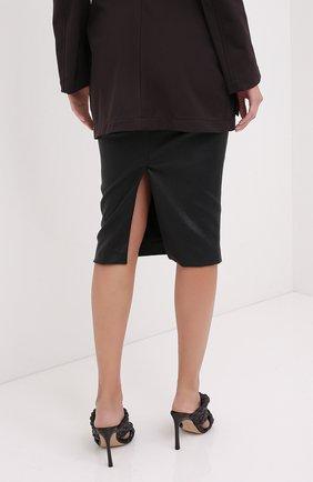 Женская кожаная юбка BRUNELLO CUCINELLI черного цвета, арт. MPV32G2968   Фото 4