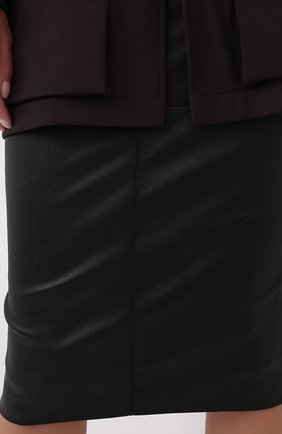 Женская кожаная юбка BRUNELLO CUCINELLI черного цвета, арт. MPV32G2968   Фото 5