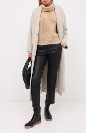 Женские кожаные брюки BRUNELLO CUCINELLI черного цвета, арт. MPV32P7118 | Фото 2