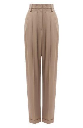 Женские шерстяные брюки BRUNELLO CUCINELLI светло-коричневого цвета, арт. MP105P7344   Фото 1
