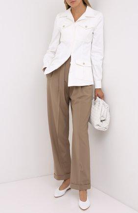 Женские шерстяные брюки BRUNELLO CUCINELLI светло-коричневого цвета, арт. MP105P7344   Фото 2