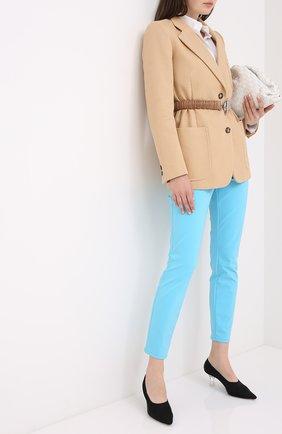 Женские укороченные брюки прямого кроя ESCADA голубого цвета, арт. 5024889 | Фото 2