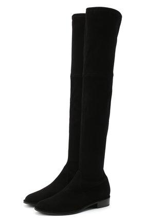 Женские замшевые ботфорты STUART WEITZMAN черного цвета, арт. S2167 | Фото 1