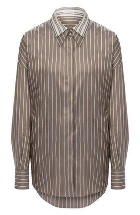 Женская шелковая рубашка BRUNELLO CUCINELLI коричневого цвета, арт. MP741NA506 | Фото 1